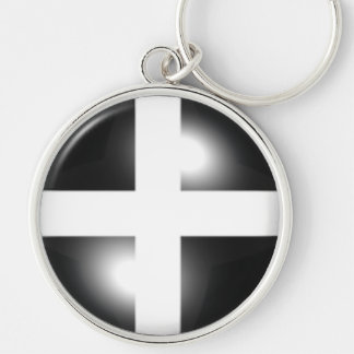 Glossy Dome Cornish Flag Key Ring