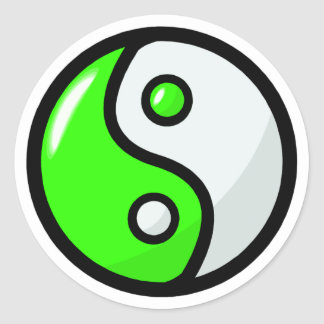 Glossy Green Yin Yang in Balance Classic Round Sticker