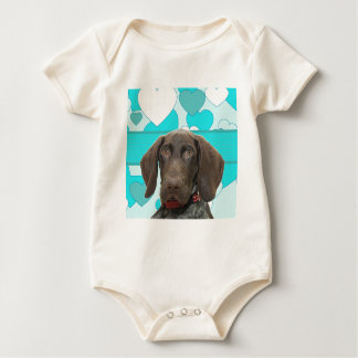 Glossy Grizzly in Blue Baby Bodysuit
