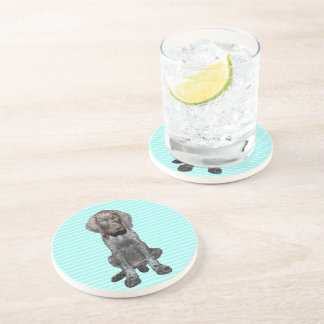 Glossy Grizzly in Blue Kitchen & Dining Beverage Coasters