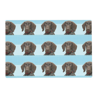 Glossy Grizzly in Blue Kitchen & Dining Laminated Placemat