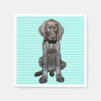 Glossy Grizzly in Blue Kitchen & Dining Paper Serviettes