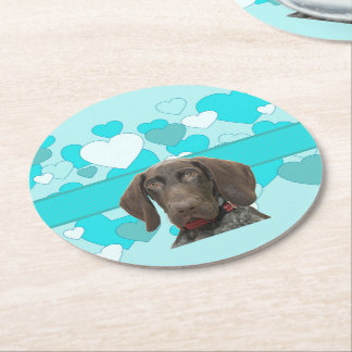Glossy Grizzly in Blue Kitchen & Dining Round Paper Coaster