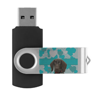 Glossy Grizzly in Blue Swivel USB 3.0 Flash Drive