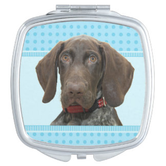 Glossy Grizzly in Blue Travel Mirror