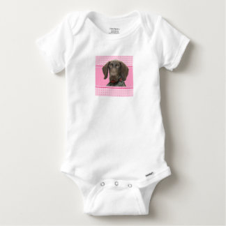 Glossy Grizzly Puppy Girl Baby Onesie