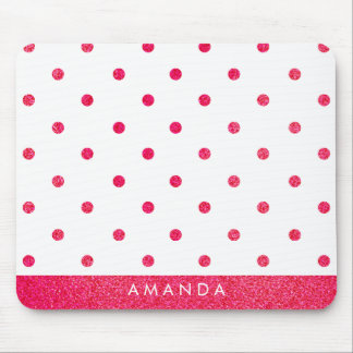 Glossy hot pink POLKA DOTS PERSONALIZE  YOUR NAME Mouse Pad