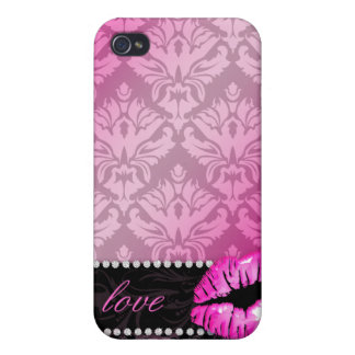 Glossy Lips 'n Lace Damask iPhone 4 Cover pink