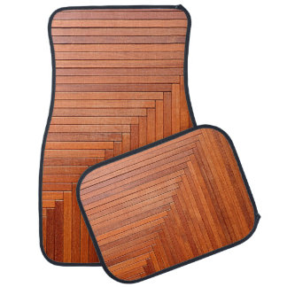 Glossy orange natural wooden planks car mat