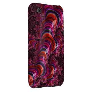 Glossy Pink Blue Twisted Fractal iPhone 3 Covers