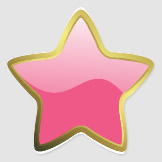 glossy pink/gold star star sticker