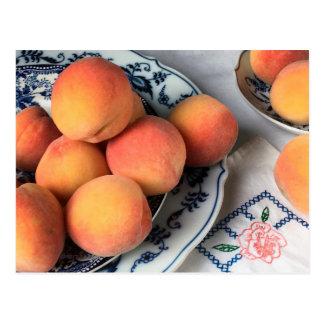 Glossy Postcard: Peaches & Antique China Postcard