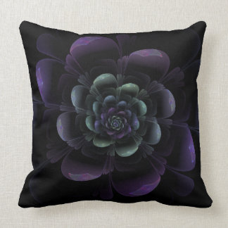 Glossy Purple Black Floral Throw Pillow
