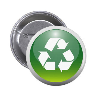 Glossy Recycling Sign 6 Cm Round Badge