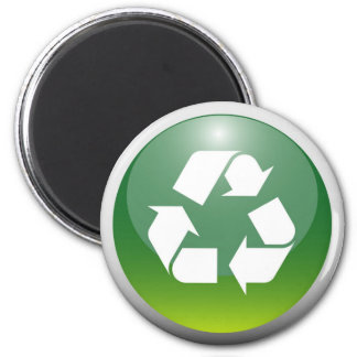 Glossy Recycling Sign 6 Cm Round Magnet