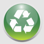 Glossy Recycling Sign Round Sticker