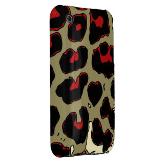 Glossy Red Black Cheetah iPhone 3 Case-Mate Cases