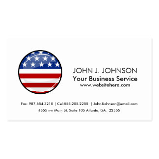 Glossy Round American Flag Pack Of Standard Business Cards
