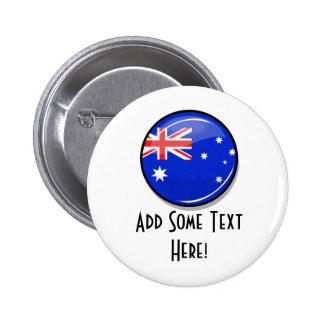 Glossy Round Australian Flag 6 Cm Round Badge
