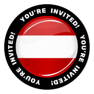 "Glossy Round Austrian Flag 5.25"" Square Invitation Card"