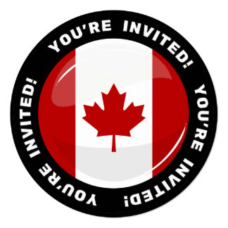 Glossy Round Canadian Flag 13 Cm X 13 Cm Square Invitation Card