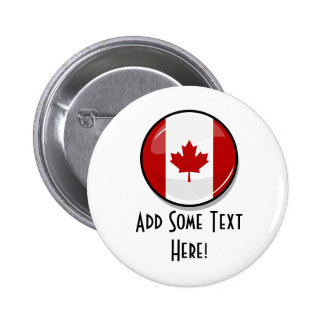 Glossy Round Canadian Flag 6 Cm Round Badge
