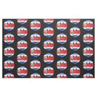 Glossy Round Costa Rican Flag Fabric