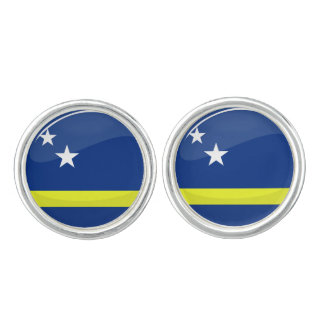 Glossy Round Curacao Flag Cuff Links