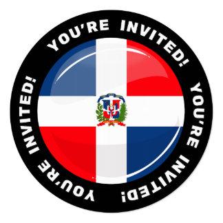 Glossy Round Dominican Flag 5.25x5.25 Square Paper Invitation Card