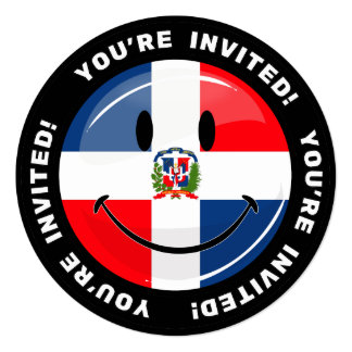 Glossy Round Dominican Republic Flag Smiley 5.25x5.25 Square Paper Invitation Card