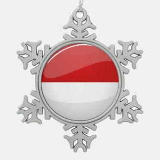 Glossy Round Flag of Monaco Pewter Snowflake Decoration