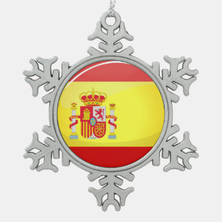 Glossy Round Flag of Spain Snowflake Pewter Christmas Ornament