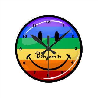 Glossy Round Gay Pride Flag Round Clock