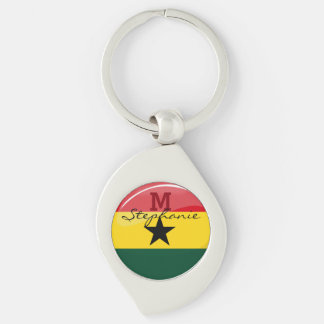 Glossy Round Ghanian Flag Key Ring