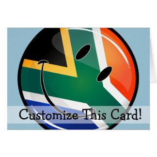 Glossy Round Happy South African Flag Card