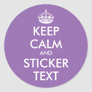 Glossy round keep calm and carry on stickers