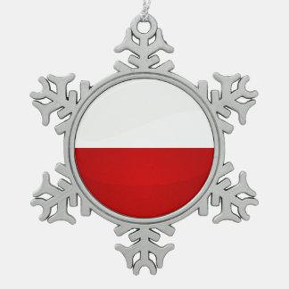 Glossy Round Monaco Flag Pewter Snowflake Decoration