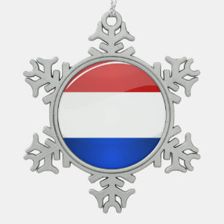 Glossy Round Netherlands Flag Pewter Snowflake Decoration