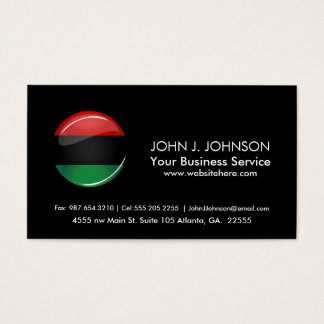 Glossy Round Pan-African Flag Business Card