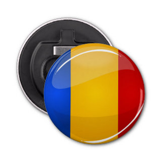 Glossy Round Romanian Flag Bottle Opener