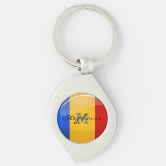 Glossy Round Romanian Flag Silver-Colored Swirl Key Ring