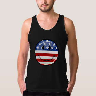 Glossy Round Smiling American Flag Singlet