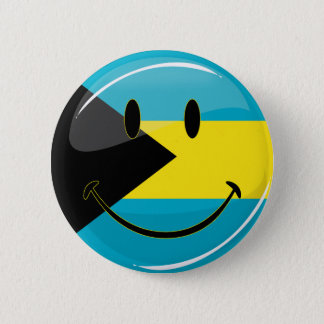Glossy Round Smiling Bahamain Flag 6 Cm Round Badge