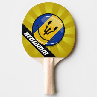 Glossy Round Smiling Barbados Flag Ping Pong Paddle