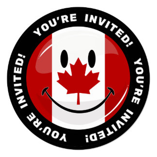 Glossy Round Smiling Canadian Flag 13 Cm X 13 Cm Square Invitation Card