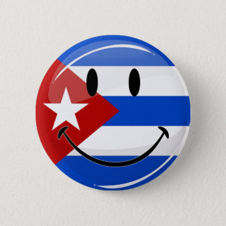 Glossy Round Smiling Cuban Flag 6 Cm Round Badge