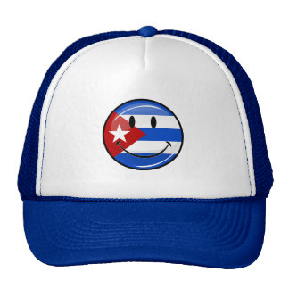 Glossy Round Smiling Cuban Flag Cap