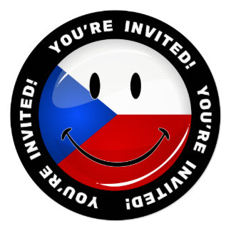 """Glossy Round Smiling Czech Rep. Flag 5.25"""" Square Invitation Card"""