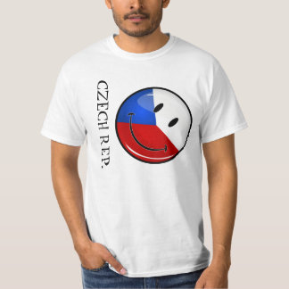 Glossy Round Smiling Czech Rep. Flag T-Shirt