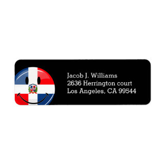 Glossy Round Smiling Dominican Flag Return Address Label